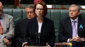 The PM in Question Time today (Picture via Kym West, News Limited)