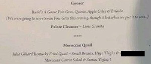 The menu for Mal Brough's fundraising dinner