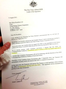 Tony Abbott's letter to the Clean Energy Finance Corporation