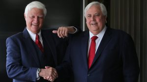 Party leaders Bob Katter and Clive Palmer